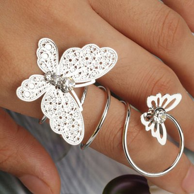 Diamante Double Butterfly Ring