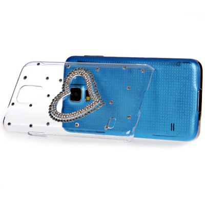 Diamond Heart Style Plastic Back Case for Samsung Galaxy S5 i9600 SM - G900