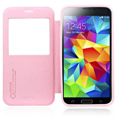 USAMS Cloud Series PU + TPU Cover Case with View Window for Samsung Galaxy S5 i9600 SM - G900