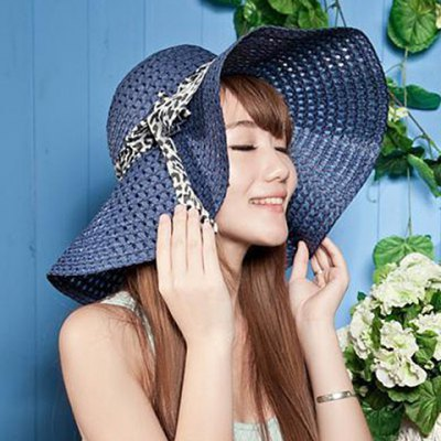 Fashion Bowknot Decorated Openwork Sun Hat For Women