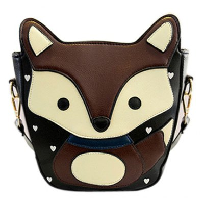 Heart Pattern Fox Crossbody Bag