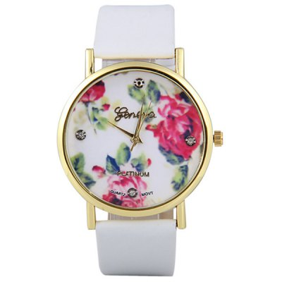 Geneva Women Watch Analog with Diamonds Rose Round Dial Leather Watch BandWomens Watches<br>Geneva Women Watch Analog with Diamonds Rose Round Dial Leather Watch Band<br><br>Band material: Leather<br>Brand: Geneva<br>Case material: Stainless Steel<br>Clasp type: Pin buckle<br>Display type: Analog<br>Movement type: Quartz watch<br>Package Contents: 1 x Watch<br>Package size (L x W x H): 23.00 x 4.00 x 1.00 cm / 9.06 x 1.57 x 0.39 inches<br>Package weight: 0.1000 kg<br>Product size (L x W x H): 23.70 x 3.80 x 0.70 cm / 9.33 x 1.5 x 0.28 inches<br>Shape of the dial: Round<br>Style: Diamond<br>The dial diameter: 3.8 cm / 1.5 inch<br>The dial thickness: 0.7 cm / 0.3 inch<br>Watches categories: Female table