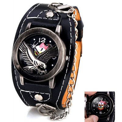 Cool Men Watch Analog Display with Flip Eagle Round Dial Leather Watch Band