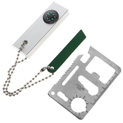 Three - in - one Magnesium Fire Starter and Outdoor Knife Saber Card for Camping Survival