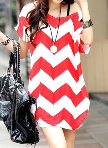 Stylish Sloping Shoulder Loose-Fitting Ripple Short Sleeves Women's Blouse