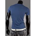 Casual Style Round Neck PU Leather Splicing Buttons Embellished Short Sleeves Men's Polyester T-shirt deal