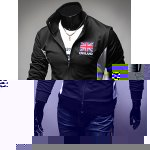 Buy Casual Style Turn-down Collar Color England Flag Embroidery Short Sleeves Men's Polyester Sweatshirt XL