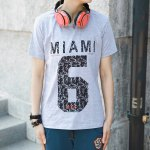 Buy Gray Stylish Round Neck Slimming Number Letter Print Color Block Short Sleeve Men's Cotton T-shirt-10.33 Online Shopping GearBest.com