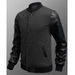 Buy Stylish Stand Collar Slimming Color Splicing PU Leather Long Sleeve Men's Polyester Sweatshirt M
