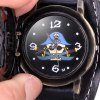 Cool Men Watch Analog Display with Flip Spider Round Dial Leather Watch Band deal