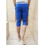 Buy Slimming Trendy Lace-Up Stripe Splicing Straight Leg Cotton Capri Pants Men M BLUE