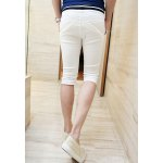 Buy Slimming Trendy Lace-Up Stripe Splicing Straight Leg Cotton Capri Pants Men XL WHITE
