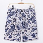 Buy Retro Style Loose-Fitting Floral Print Straight Leg Linen Shorts Men 2XL BLUE