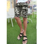 Buy Slimming Trendy Hit Color Geometric Print Straight Leg Polyester Shorts Men L YELLOW
