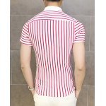 Buy Stylish Turn-down Collar Colorful Stripes Short Sleeves Men's Polyester Polo shirt M RED WITH WHITE