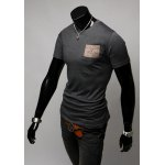 Buy Korean Style Round Neck Slimming Double Pockets Design Short Sleeves Men's T-shirt M DEEP GRAY