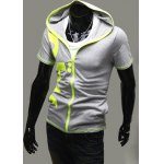 Buy Summer Style Slimming Letters Print Short Sleeves Men's Cotton Hoodies XL LIGHT GRAY