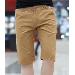 Buy Slimming Trendy Colorful Printed Straight Leg Polyester Shorts Men M KHAKI