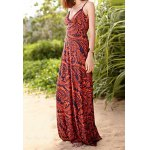 cheap Bohemian Style V-Neck Printed Backless Women's Maxi Dress