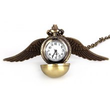 Popular Harry Potter Enchanted Snitch Steampunk Locket Ball with Double Sided Brass Wings Necklace Pocket Quartz Watch