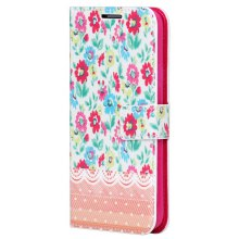 Colorful Drawing Flowers Pattern TPU and PU Stand Case with Card Holder for Samsung Galaxy S5 i9600 SM - G900