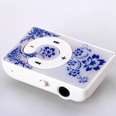 Traditional Chinese Style Flowers Feature Compact TF / Micro SD Card MP3 Player with Portable Back Clip