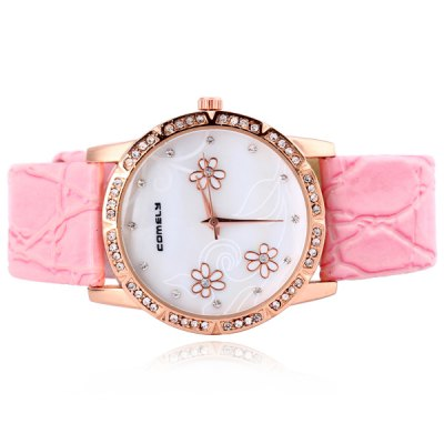 ФОТО Fashion Women Watch Analog with Shell Surface Diamonds Flowers Pattern Round Dial Genuine Leather Watch Band IP Plating