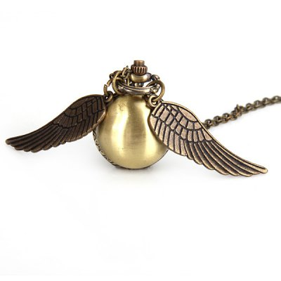 Фотография Popular Harry Potter Enchanted Snitch Steampunk Locket Ball with Double Sided Brass Wings Necklace Pocket Quartz Watch