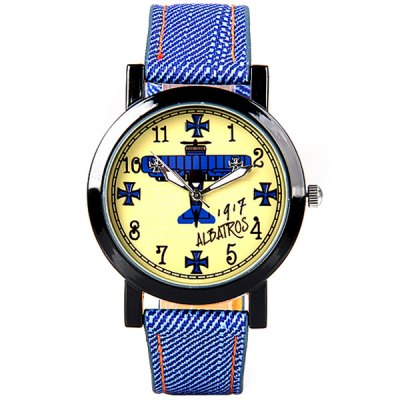 Гаджет   Retro Women Watch Analog with Airplane Design Round Dial Leather Watch Band
