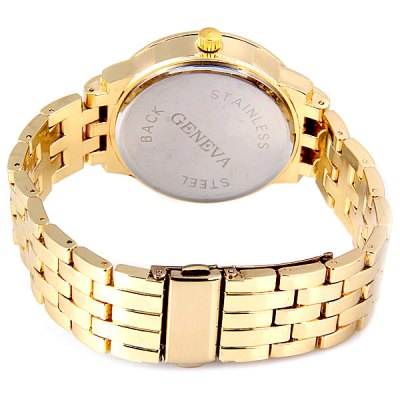 Фотография TuHao Golden Watch with Diamonds Round Dial and Steel Band for Women
