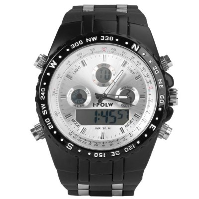 Гаджет   Cool Waterproof Design Green LED Watch with Day/Date Round Dial and Rubber Band Sports Watches