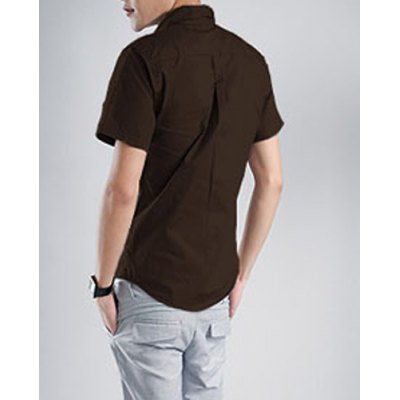 Гаджет   Fashion Style Turn-down Collar Slimming Solid Color Short Sleeves Men