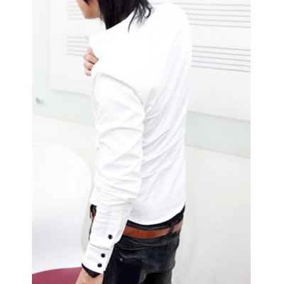 Гаджет   Fashion Style Turn-down Collar Purfled Button Fly Solid Color Long Sleeves Men