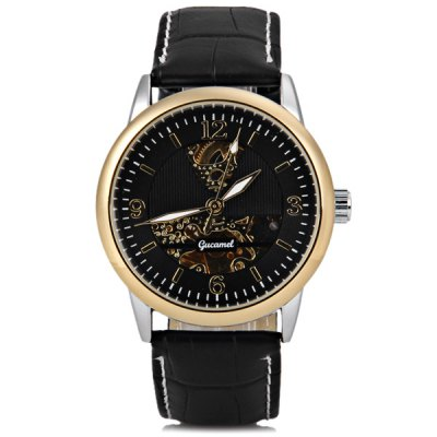 ФОТО Gucamel Cool Men Automatic Mechanical Watch with Analog Round Dial Leather Watchband