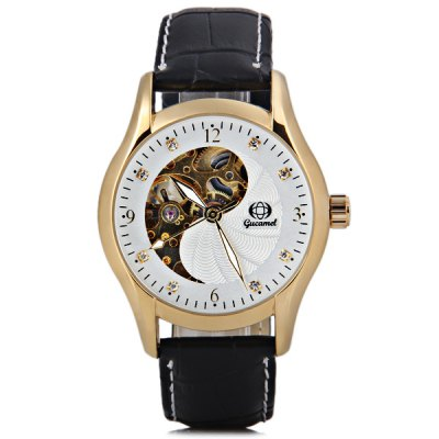 ФОТО Gucamel Popular Men Automatic Mechanical Watch with Analog Round Dial Leather Watchband