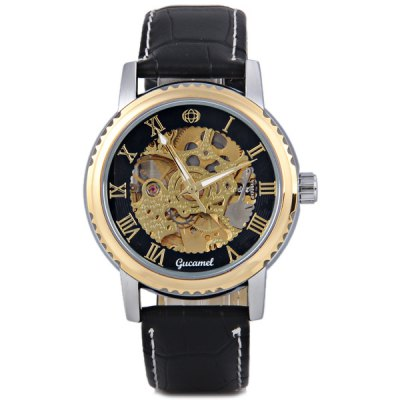ФОТО Gucamel Luxury Men Automatic Mechanical Watch with Analog Round Dial Leather Watchband