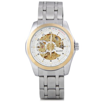 ФОТО Gucamel Cool Men Automatic Mechanical Watch with Analog Round Dial Steel Watchband
