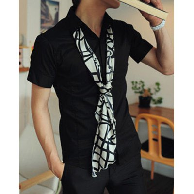 Гаджет   Simple Style Turn-down Collar Slimming Solid Color Short Sleeves Polyester Men
