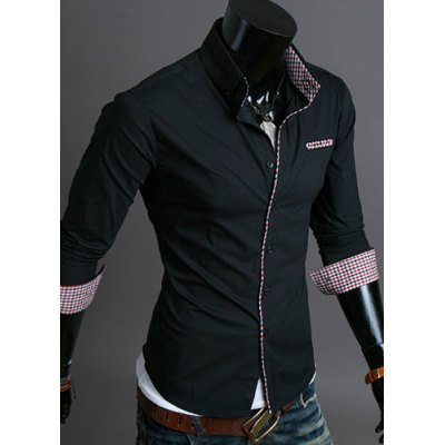 Casual Style Turn-down Collar Checked Print Cuffs Color Block Design Full Sleeves Men's Shirt
