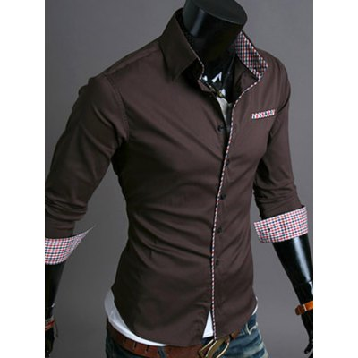 Гаджет   Casual Style Turn-down Collar Checked Print Cuffs Color Block Design Full Sleeves Men