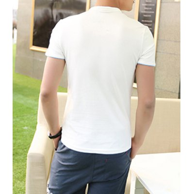 Гаджет   Spring Style Stand Collar Single Breasted Purfled Short Sleeves Cotton Polo Shirt For Men