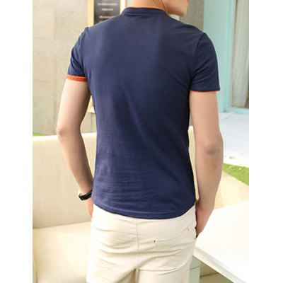 Гаджет   Spring Style Stand Collar Single Breasted Purfled Short Sleeves Cotton Polo Shirt For Men T-Shirts