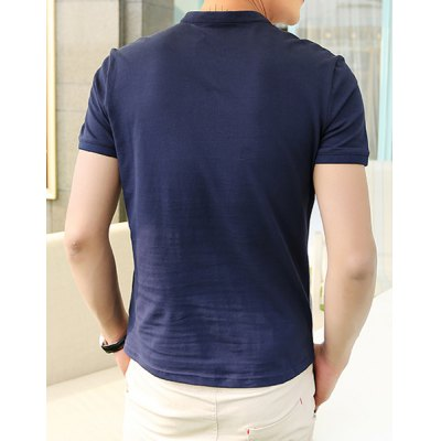Гаджет   Summer Style Stand Collar Color Block Slimming Short Sleeves Cotton Polo Shirt For Men T-Shirts