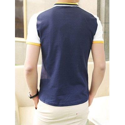 Гаджет   Summer Style Turn-down Collar Color Block Purfled Short Sleeves Cotton Polo Shirt For Men T-Shirts