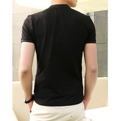 Гаджет   Summer Style Stand Collar Solid Color Slimming Short Sleeves Cotton Polo Shirt For Men