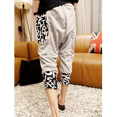 Fashion Style Lace-Up Letters Print Pockets Color Block Splicing Narrow Feet Men's Cropped Pants