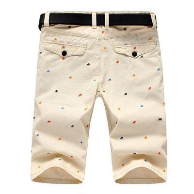 ФОТО Casual Style Slimming Colorful Stars Print Straight Leg Cotton Shorts For Men