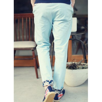 Гаджет   Casual Style Lace-Up Slimming Floral Print Ruffles Straight Leg Men