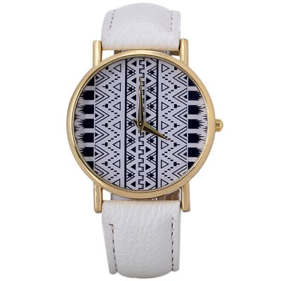 Гаджет   Fashion Women Watch Analog with Triangle Design Round Dial Leather Watch Band