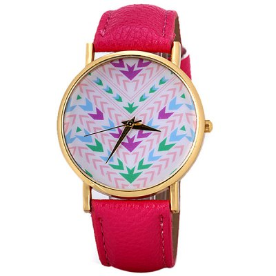 Гаджет   Fashion Women Watch Analog with Arrows Design Round Dial Leather Watch Band